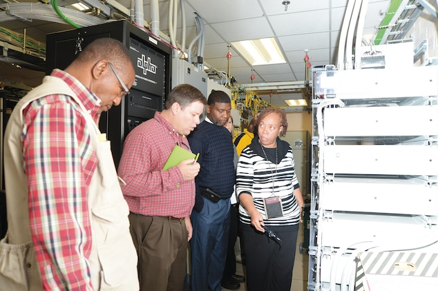 During the Voluntary Protection Program inspection, employees tour a server room at Marine Corps Logistics Base Albany Nov. 5.