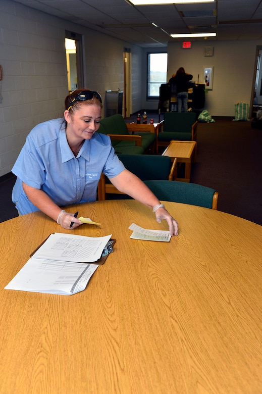 MCGHEE TYSON AIR NATIONAL GUARD BASE, Tenn. - Housekeepers use a room checklist Nov. 7, 2014, at the McGhee Tyson Inn to help keep track of services required. Ramona Morales writes a reminder to a guest. (U.S. Air National Guard photo by Master Sgt. Mike R. Smith/Released)