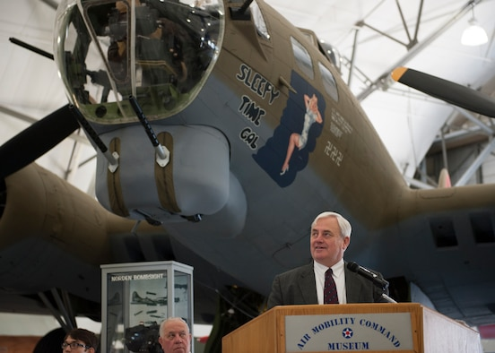 Retired Lt. Gen. Robert R. Dierker speaks at a Veterans Day Celebration Nov. 11, 2014, at the Air Mobility Command Museum, on Dover Air Force Base, Del. Dierker served in the Air Force from 1972 to 2004. (U.S. Air Force photo/Airman 1st Class Zachary Cacicia)