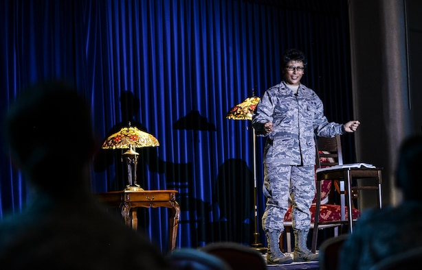 Maj. Eusebia Rios, 39th Air Base Wing deputy wing chaplain, tells her story to the audience during a Storytellers event at the Club Complex Nov. 8, 2014, Incirlik Air Base, Turkey. Rios talked about how the non-commissioned officers who were in her chain of command while being a young Airman, guided her be the leader she is today, and why NCOs are the core of our Air Force today. (U.S. Air Force photo by Airman Cory W. Bush/Released)