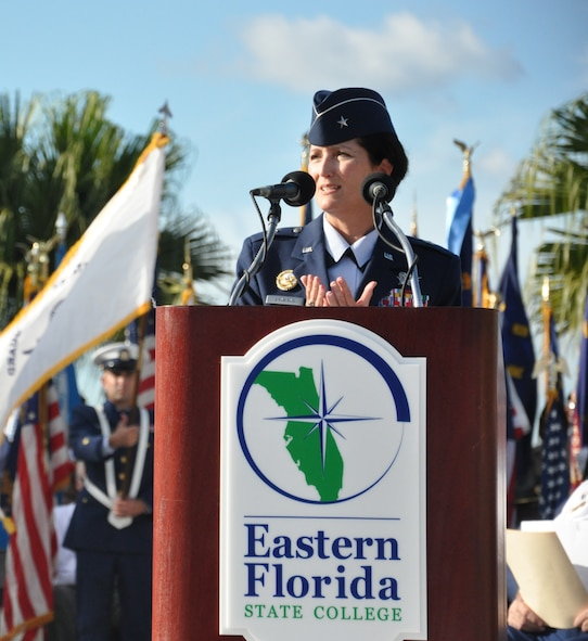 Brig. Gen. Nina Armagno, 45th Space Wing commander, served as guest speaker for the 32nd Annual Massing of the Colors Veterans Day, Nov. 11, 2014, at the George F. Schlatter Veterans Memorial Amphitheater at the Cocoa Campus of Eastern Florida State College in Cocoa, Fla. (U.S. Air Force photo/Christopher Calkins)