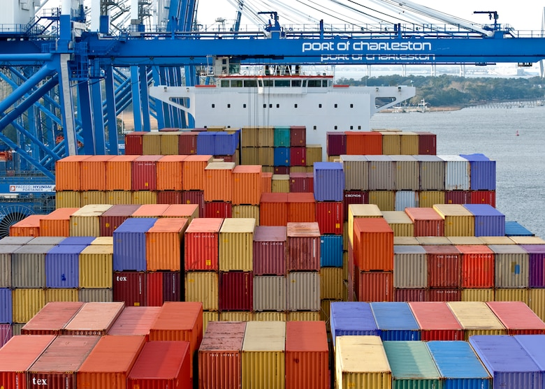 Containers loaded about the MSC Rita.
