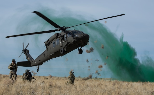 A UH-60 Black Hawk sets down during a capstone training event Nov. 6, 2014, at Sailor Creek Range Complex, Idaho. Members of the 366th Fighter Wing train alongside U.S. Army and U.S. Marine Corp affiliates to execute realistic operation scenarios, which will allow them to operate in a tactical environment. (U.S. Air Force photo/Staff Sgt. Roy Lynch)