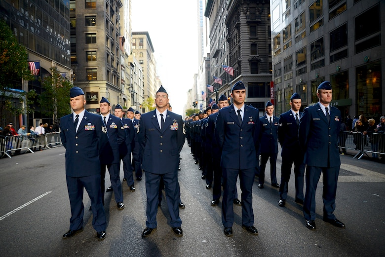 Airmen from Joint Base McGuire-Dix-Lakehurst, N.J., marched in an annual Veterans Day parade Nov. 11, 2014, in New York City, N.Y. The parade, organized in New York since 1929, has over 25,000 participants and runs for approximately five hours. (U.S. Air National Guard photo/Tech. Sgt. Carl Clegg)