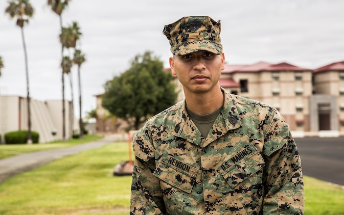 U.S. Marine Gunnery Sgt. Aquiles Rendon uses his experience to mentor Marines aboard Camp Pendleton, Calif., Nov. 13, 2014. Rendon is from Houston, and is the administrative chief for the 15th Marine Expeditionary Unit. (U.S. Marine Corps photo by Sgt. Emmanuel Ramos/Released)