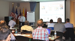 ALBUQUERQUE, N.M., -- Dennis Garcia, chief, Reservoir Control Branch, presents to the 2014 SPD Hydrology & Hydraulics and Reservoir Control Community of Practice meeting, Oct. 28, 2014.