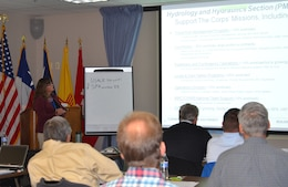 ALBUQUERQUE, N.M., -- Tamara Massong, chief, H&H Section, presents at the 2014 SPD Hydrology & Hydraulics and Reservoir Control Community of Practice, Oct. 28, 2014.