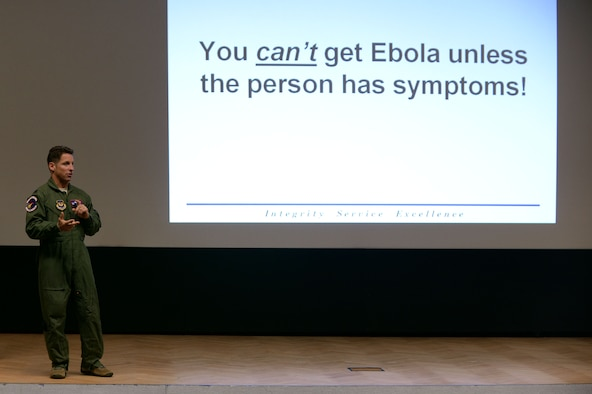 U.S. Air Force Lt. Col. Dan Murray, 52nd Aerospace Medicine Squadron commander and 52nd Fighter Wing public health emergency officer, talks at an information forum Nov. 13, 2014, at the theater at Spangdahlem Air Base, Germany. He discussed how someone can avoid contracting the Ebola virus disease. (U.S. Air Force photo by Staff Sgt. Daryl Knee/Released)
