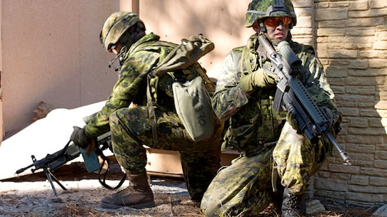 Two Canadian soldiers provide security for coalition forces during an assault on a combat town in Marine Corps Base Camp Lejeune, North Carolina on Nov. 7, 2014. This was one of the many training events of Bold Alligator 2014. A large-scale amphibious exercise on the East Coast designed to improve U.S. and allied forces response to a myriad of different crises. Allies from Canada, the United Kingdom, the Netherlands, Spain and Italy participated in the assault.