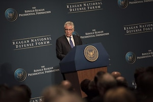 Defense Secretary Chuck Hagel provides remarks during the Reagan National Defense Forum at The Ronald Reagan Presidential Library in Simi Valley, Calif., Nov. 15, 2014. DoD photo by Kevin O'Brien
