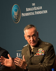 Marine Corps Commandant Gen. Joseph F. Dunford Jr. discusses issues at the Reagan National Defense Forum at The Ronald Reagan Presidential Library in Simi Valley, Calif., Nov. 15, 2014. The Reagan National Defense Forum brings together leaders and key stakeholders in the defense community -- including members of Congress, civilian officials and military leaders from the Defense Department and industry -- to address the health of U.S. national defense and stimulate discussions that promote policies that strengthen the U.S. military in the future. DoD photo by Kevin O'Brien