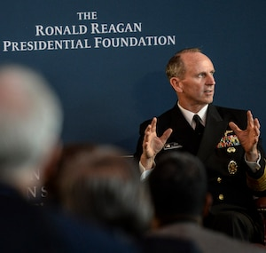 Chief of Naval Operations Adm. Jonathan W. Greenert speaks at the Reagan National Defense Forum at The Ronald Reagan Presidential Library in Simi Valley, Calif. The Reagan National Defense Forum brings together leaders and key stakeholders in the defense community -- including members of Congress, civilian officials and military leaders from the Defense Department and industry -- to address the health of U.S. national defense and stimulate discussions that promote policies that strengthen the U.S. military in the future. DoD photo by Kevin O'Brien