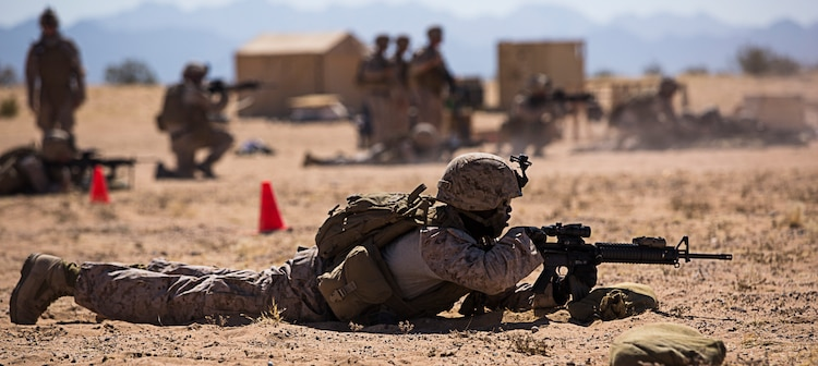 Combat engineers with Marine Wing Support Squadron 371 execute a live-fire squad movement exercise at the Western Barry M. Goldwater Range near Marine Corps Air Station Yuma, Ariz., June 5.
