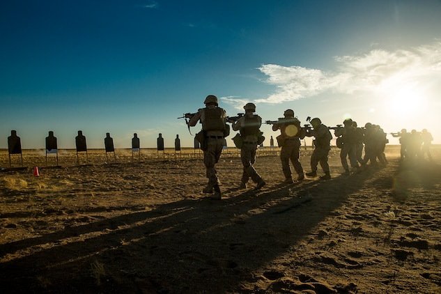 Combat engineers with Marine Wing Support Squadron 371 brush up on their individual combat shooting skills with table 3 qualifications during squad tactics drills at the Western Barry M. Goldwater Range near Marine Corps Air Station Yuma, Ariz., June 3.