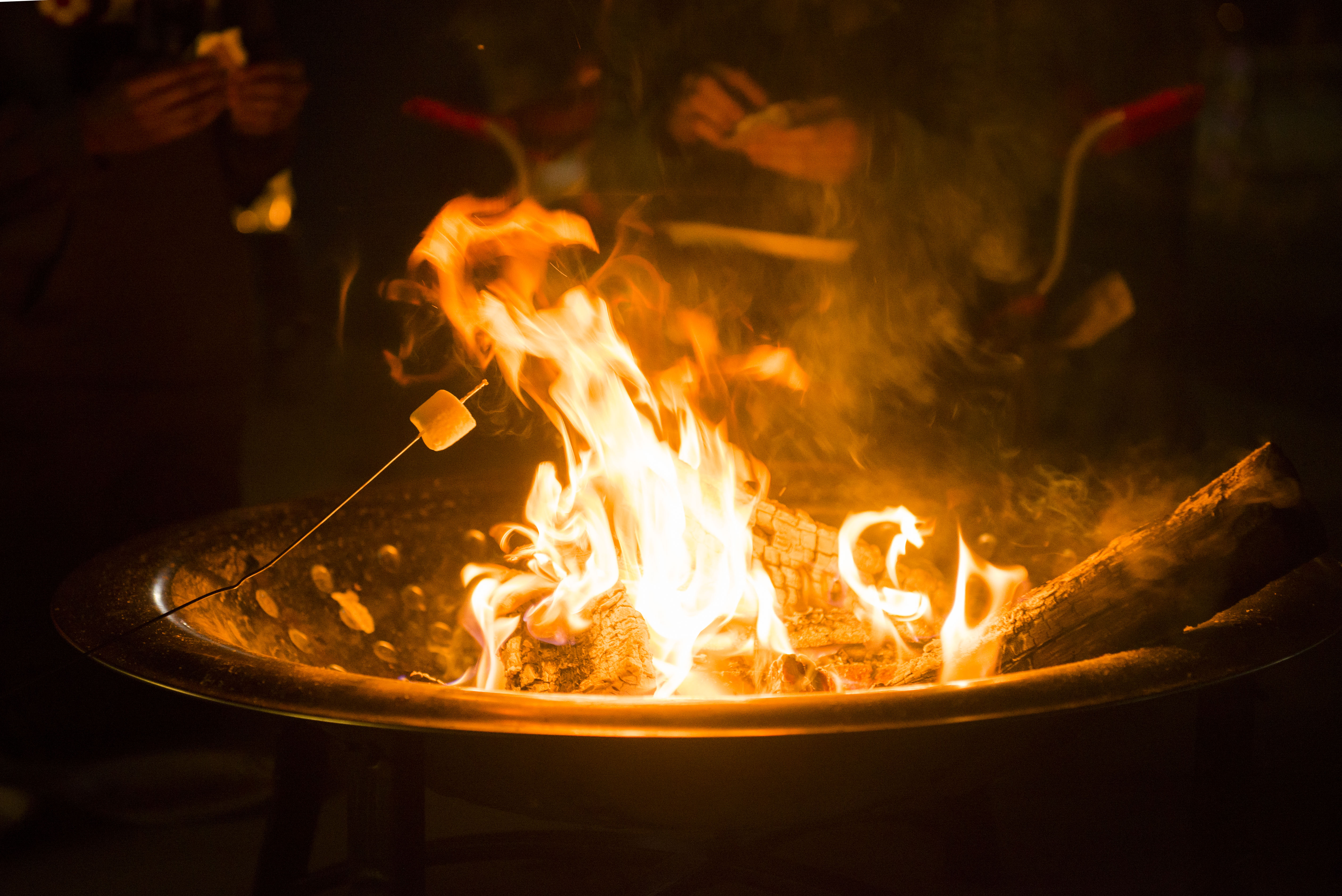 Children Roast Marshmallows Over A Fire Pit During Campout Nov 15 2014