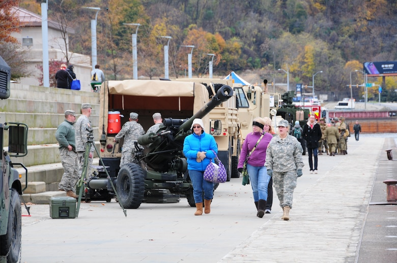 The Pennsylvania National Guard joined with the Pennsylvania Department of Conservation of Natural Resources' Point State Park and the Association of the United States Army to organize Steel City Salutes the Troops, Pittsburgh, November 8, 2014.  The event is a celebration of the region's military history, community impact and continued relevance. (U.S. Air National Guard photo by Master Sgt. Shawn Monk/ Released)