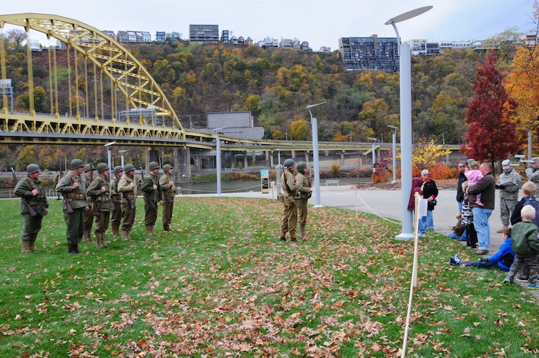 The Pennsylvania National Guard joined with the Pennsylvania Department of Conservation of Natural Resources' Point State Park and the Association of the United States Army to organize Steel City Salutes the Troops, Pittsburgh, November 8. 2014.  The event is a celebration of the region's military history, community impact and continued relevance. (U.S. Air National Guard photo by Airman 1st Class Allyson Manners/ Released)