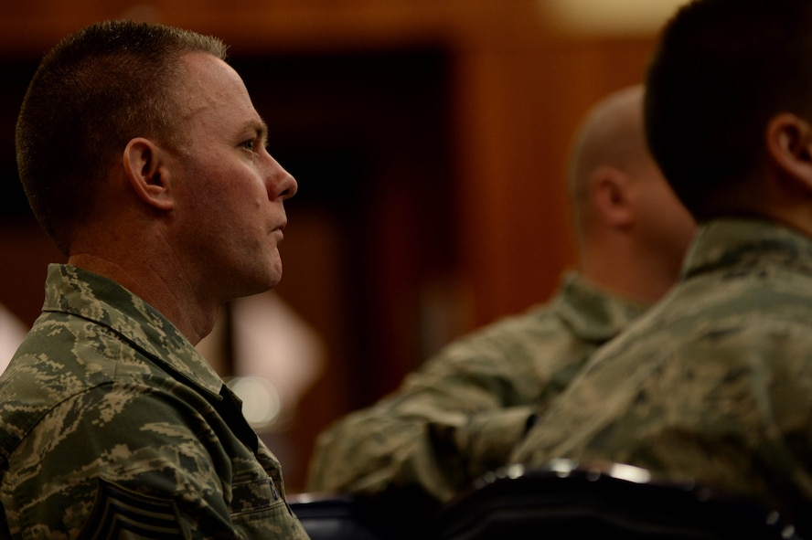 U.S. Air Force Chief Master Sgt. Brian Gates, 52nd Fighter Wing command chief and native of Dunsmuir, Calif., attends the Air Force Sergeant Association Chapter 1681 general meeting in the Landscheid Room at Club Eifel on Spangdahlem Air Base, Germany, Nov. 13, 2014. Members and non-members of AFSA Chapter 1681 socialized with Gates and Robert Frank, AFSA CEO, before the meeting. (U.S. Air Force photo by Airman 1st Class Timothy Kim/Released)