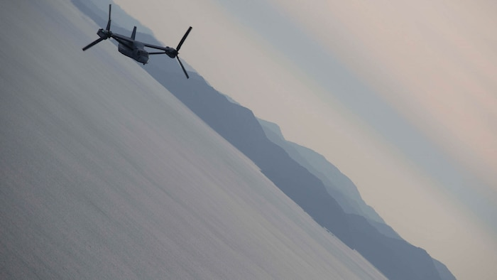 An MV-22B Osprey tiltrotor aircraft flies to a casualty evacuation drill Nov. 8 during Tomodachi relief exercise 15.2 near Izu Oshima Island, Tokyo Metropolis Prefecture, Japan. TREX 15.2 is an annual, bilateral training exercise that simulates humanitarian assistance and disaster relief missions in the Asia-Pacific region while forging a stronger U.S. and Japanese alliance. The exercise also included an HADR training mission, an in-flight demonstration for the Japanese Minister of Defense and additional Japanese politicians, and a static display and press conference for the Japanese media.