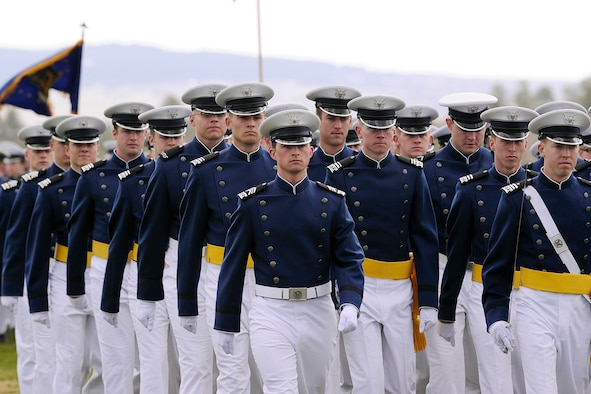 Cadets march in the Founders Day Parade April 14, 2012, at the Air Force Academy's Stillman Parade Field. The Academy will hold its 2013 Founders Day events April 5-6. Founders Day commemorates the establishment of the Air Force Academy April 1, 1954. (U.S. Air Force photo/Mike Kaplan)