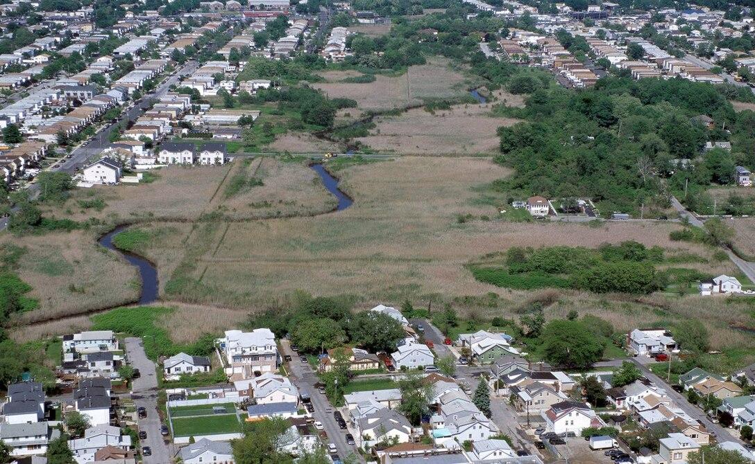 Aerial of New Creek Bluebelt. New Creek meanders through the Midland Beach neighborhood on Staten Island.