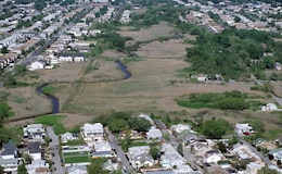 Aerial of New Creek Bluebelt. New Creek meanders through the Midland Beach neighborhood on Staten Island.