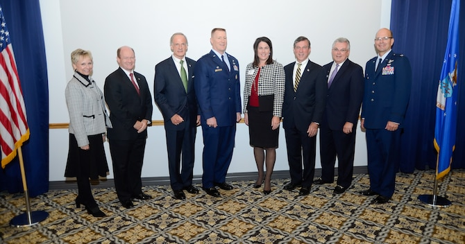 Dover Air Force Base leadership, U.S. representatives for Delaware and members of the Central Delaware Chamber of Commerce pose for a group photo following the formal portion of the 2014 Military Construction (MILCON) Breakfast on Nov. 10, 2014, at Dover Air Force Base, Del. The Dover MILCON breakfast is a forum hosted by the Central Delaware Chamber of Commerce to provide information on Dover AFB???s infrastructure, construction projects underway and those planned for the future. (U.S. Air Force photo/Greg L. Davis)