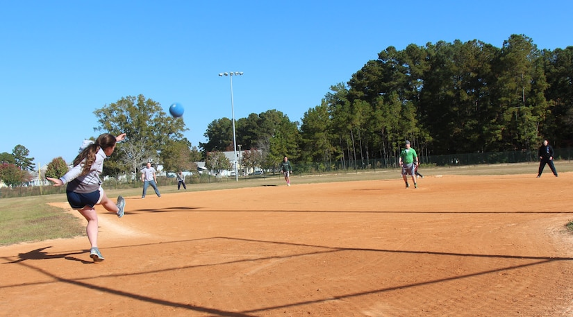 Twenty teams competed in the 4th Annual Sexual Assault Prevention and Response Kickball Tournament, Nov. 15, 2014, at Locklear Park on Joint Base Charleston, S.C.  The tournament is held to raise awareness and promote efforts to prevent sexual assault. (U.S. Navy photo/Petty Officer 2nd Class Jason Pastrick)