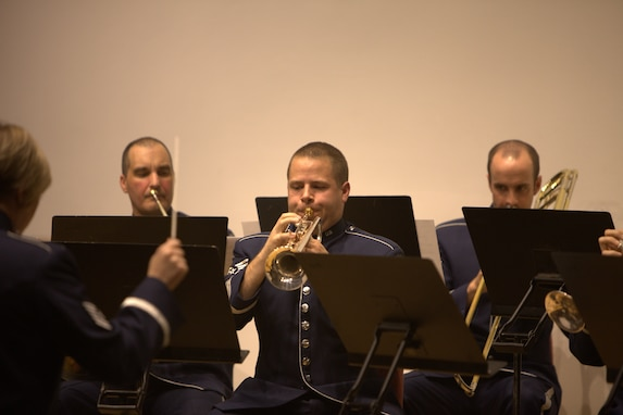 Tech. Sgt. Michael Brest performs the famous trumpet solo from Mahler's Fifth Symphony, arranged for brass ensemble at The Lyceum in Old Town Alexandria on November 6, 2014. (U.S. Air Force photo by Tech. Sgt. Matthew Shipes)