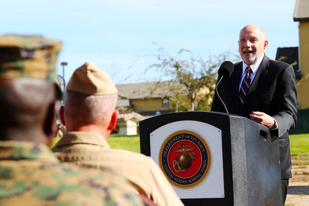 David Coker gives remarks during a groundbreaking ceremony held, Nov. 18., by Camp Pendleton, together with the Fisher House Foundation and United Health Foundation to celebrate the construction of a new Fisher House here. Coker is the president of the Fisher House Foundation.