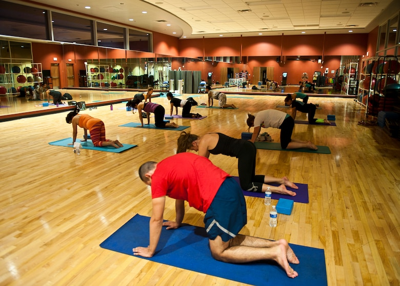 Airmen stretch away stress at Warrior Fitness Center ...