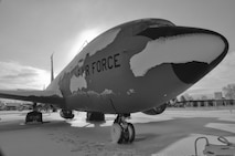 KC-135R Stratotanker aircraft with the 128th Air Refueling Wing awaits snow and ice removal after a winter storm at General Mitchell International Airport in Milwaukee.  USAF photo by SSgt Jeremy Wilson