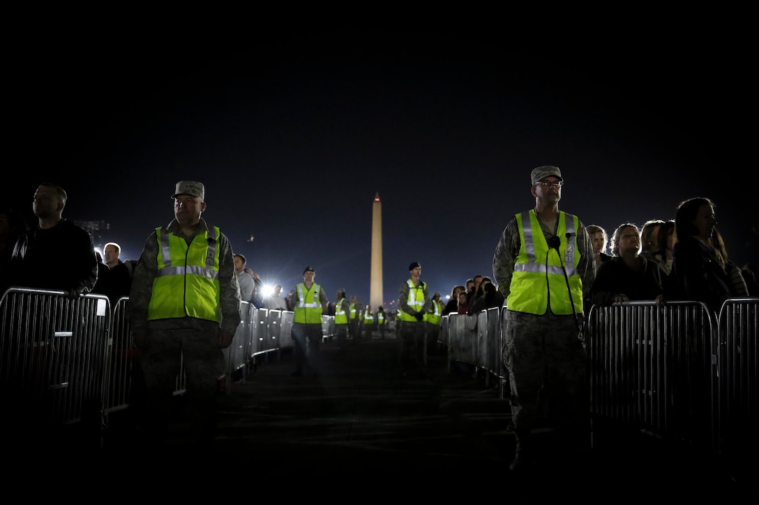 """More than 70 Air National Guard members from the 113th Wing volunteered to provide security during """"The Concert for Valor"""" at the National Mall, Tuesday, Nov. 11, 2014. (U.S. Air National Guard photo by 1st Lt. Nathan Wallin)"""