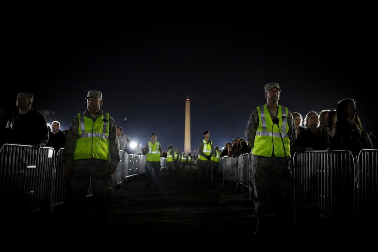 "More than 70 Air National Guard members from the 113th Wing volunteered to provide security during ""The Concert for Valor"" at the National Mall, Tuesday, Nov. 11, 2014. (U.S. Air National Guard photo by 1st Lt. Nathan Wallin)"