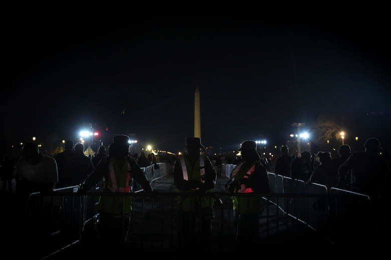 "Airmen from the D.C. National Guard's 113th Wing provided crowd management, access point and perimeter protection functions during the ""Concert for Valor"" at the National Mall, Tuesday, Nov. 11, 2014. (U.S. Air National Guard photo by 1st Lt. Nathan Wallin)"
