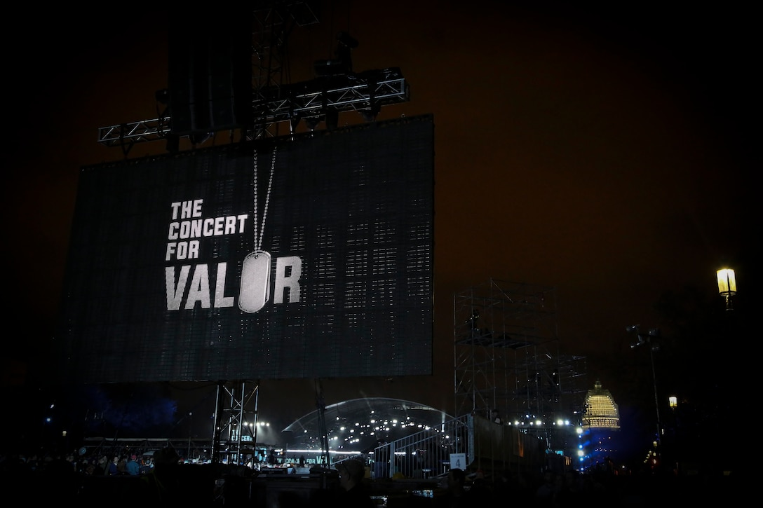 """HBO's Concert for Valor,"""" a celebration to honor America's veterans, featured musical performances by Carrie Underwood, Rihanna, Bruce Springsteen, Eminem, Metallica among others. (U.S. Air National Guard photo by 1st Lt. Nathan Wallin)"""