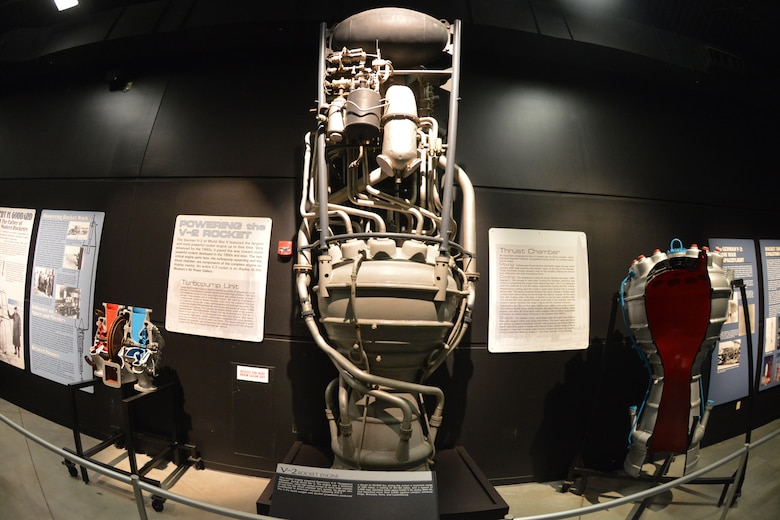 DAYTON, Ohio -- V-2 rocket engine in the Missile and Space Gallery at the National Museum of the United States Air Force. (U.S. Air Force photo)