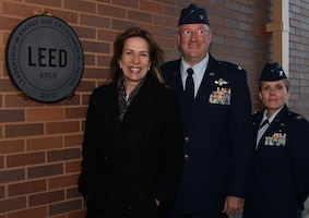 Deputy Secretary of Energy Elizabeth Sherwood-Randall, left, Col. Jeffrey A. Van Dootingh, commander of the 911th Airlift Wing, and Col. Stacey L. Scarisbrick, commander of the 911th Mission Support Group pose for a photo next to the LEED Gold plaque outside of the main lodging building at the Pittsburgh International Airport Air Reserve Station, Nov. 18, 2014. LEED, or Leadership in Energy and Environmental Design, certified buildings save money, resources and promote renewable clean energy use. (U.S. Air Force photo by Senior Airman Joshua J. Seybert)