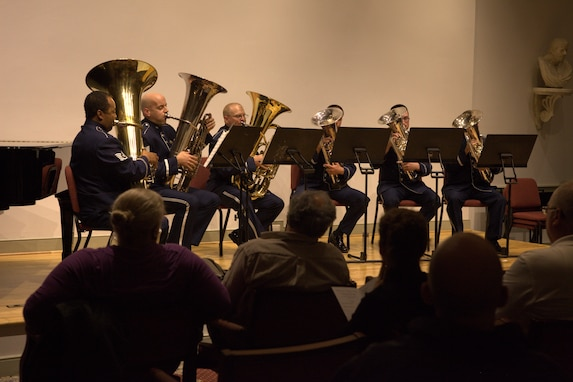 "The Ceremonial Brass Tuba Sextet delighted audience members with a jovial arrangement of ""Poet and Peasant"" at The Lyceum in Old Town Alexandria on November 6, 2014. (U.S. Air Force photo by Senior Master Sgt.Tara Islas)"
