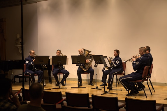 "A brass sextet performs ""Music for Brass Instruments"" by Ingolf Dahl at a concert at The Lyceum in Old Town Alexandria on November 6, 2014. (U.S. Air Force photo by Tech. Sgt. Matthew Shipes)"