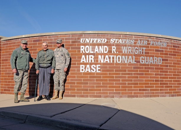 Retired Air Force Brig. Gen. Roland R. Wright (center) stands with Brig. Gen. David Fountain, Assistant Adjutant General for Air, Utah National Guard (left), and Maj. Gen. Jefferson Burton, Adjutant General of the Utah National Guard (right), during a ceremony to rename the Utah Air National Guard Base in his honor held in Salt Lake City, Utah on Nov. 18, 2014. Wright, a combat pilot with a distinguished military career spanning more than three decades served as Utah's first Chief of Staff for Air. (Air National Guard photo by Staff Sgt. Annie Edwards/RELEASED)