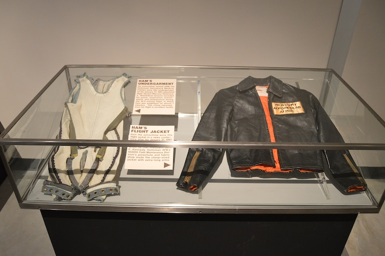 DAYTON, Ohio - HAM's undergarment and flight jacket on display in the Missile & Space Gallery at the National Museum of the U.S. Air Force. (U.S. Air Force photo)