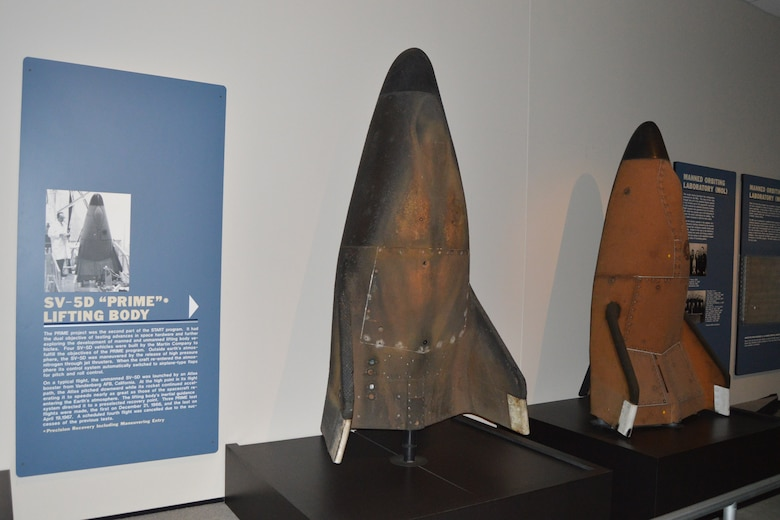 DAYTON, Ohio -- SV-5D PRIME Lifting Bodies on display in the Missile and Space Gallery at the National Museum of the United States Air Force. (U.S. Air Force photo)