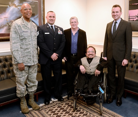 Air Force Vice Chief of Staff Gen. Larry Spencer and Under Secretary of the Air Force Eric Fanning stand with three of the 2014 Department of Defense Disability Awards recipients Oct. 30, 2014, at the Pentagon.  The recipients are Tech. Sgt. Chad Molenhour, from the 552nd Air Control Wing, Tinker Air Force Base, Okla.; Kathi Duncan, from Wright-Patterson AFB, Ohio; and Chris Gitto, from Kirtland AFB, N.M.  The DOD Disability Awards ceremony honors service components for outstanding achievements in the hiring, retention and advancement of individuals with disabilities.  (U.S. Air Force photo/Andy Morataya)