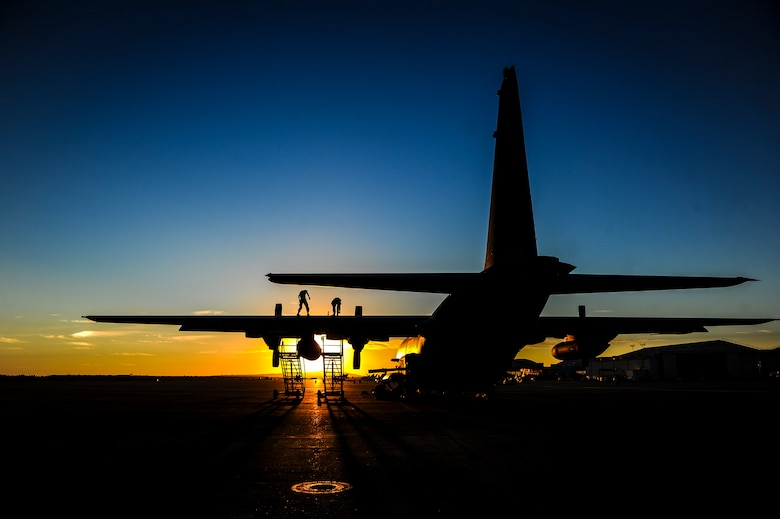 AC-130U Spooky gunship Airmen from the 1st Special Operations Aircraft Maintenance Squadron work on an AC-130U Spooky gunship Nov. 3, 2014, at Marine Corps Air Station Miramar, Calif. While at the Marine base, the 1st SOAMXS participated in a 1st Special Operations Wing emergency deployment readiness exercise. (U.S. Air Force photo/Senior Airman Christopher Callaway)