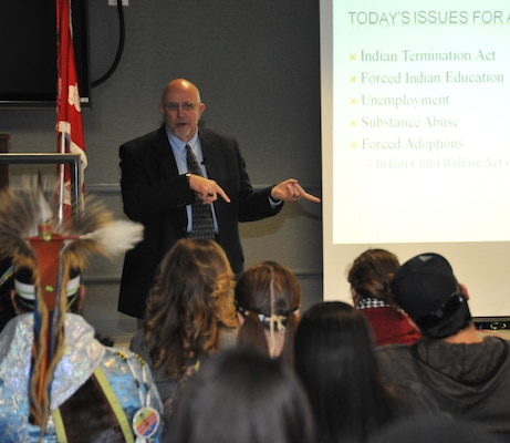 Native American Heritage Month observance key note speaker Stan Long talks to people gathered for an observance at Huntsville Center Nov. 18. Long is the Principal Chief of the Cherokee Tribe of Northeast Alabama.