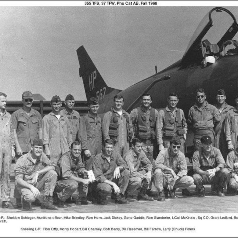 A group photo of Air National Guard pilots deployed to Phu Cat, South Vietnam, and assigned to the 355th Tactical Fighter Squadron. (Courtesy photo)