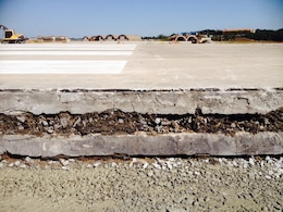 An unbounded 8 inch overlay was constructed on top of the original runway in 1962.