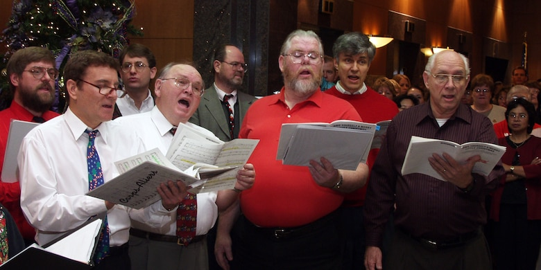 Bob Fletcher, front row, far right, sings bass during the 2000 holiday performance in U.S. Army Corps of Engineers Sacramento District headquarters.