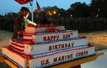 Ft. Lee Marines mark 239th birthday with cake cutting, warrior dinner